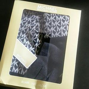 MICHAEL Michael Kors Accessories - Michael Kors Logo Muffler Hat & Gloves Set